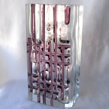Superb MCM Czech Blown Cut Crystal Geometric Art Vase by Oliva - Art Glass