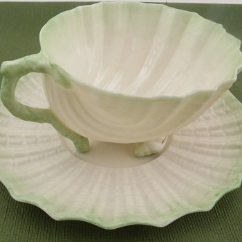 Belleek Neptune Cup and Saucer - 2nd mark - Pottery