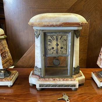 1920 - 22 French Art Deco Portico Clock with Garnitures - Clocks