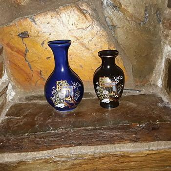 Japanese Colbolt blue posy vases - Asian