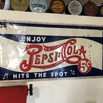 Pepsi  5 cent sign 8ft with original wood frame  - Advertising