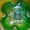 green blue art glass ashtray