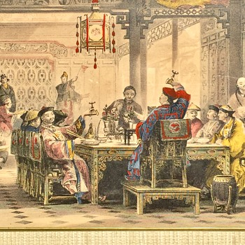 Antique 1843 Thomas Allom Full Size Steel Print Chinese Mandarin Dinner Party - Posters and Prints