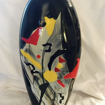 XL Abstract Style Mystery Art Glass Vase - Art Glass
