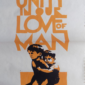 "1970 UC Berkeley ""Unity in our Love of Man"" anti-Vietnam Street Poster on Computer Print-out Paper - Politics"