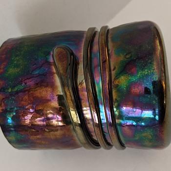 Iridescent Art Glass Beaker with Applied Band - Signed - Art Glass