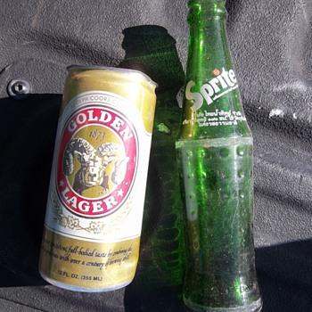 Vintage Sprite bottle and beer can