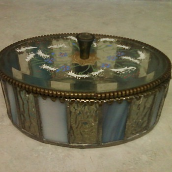 ANTIQUE STAINED AND ENAMELED GLASS BOX