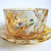 Signed Harrach Amber Gold Splatter Art Glass Tumbler& Finger Bowl Set with Hand Painted Floral Enameling