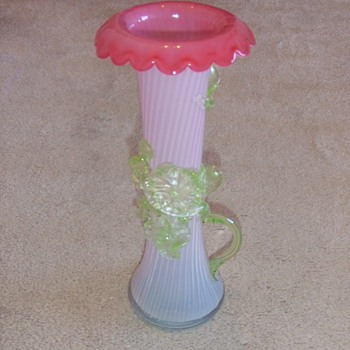 Large art glass vase with applied vine and flowers - Art Glass