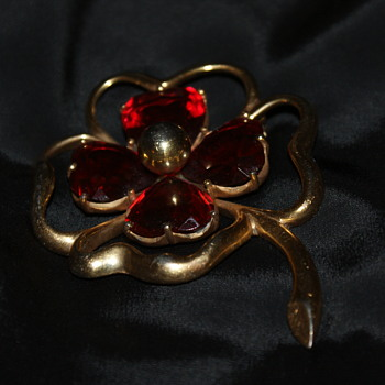Huge Costume Brooch Shaped Like a Clover Leaf - Costume Jewelry