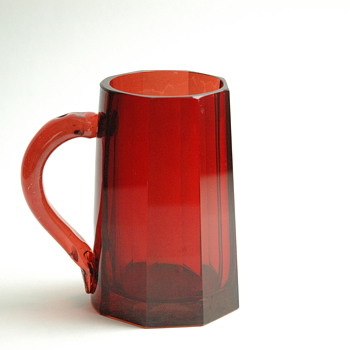Antique Bohemian Glass Beer Stein Red Ruby Cut.   - Art Glass