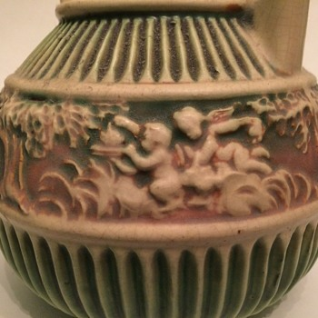 Rosevile Donatello Basket-handled Vase - Pottery