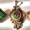 Rare Bourg-en-Bresse Antique Enamel locket and two Brooches