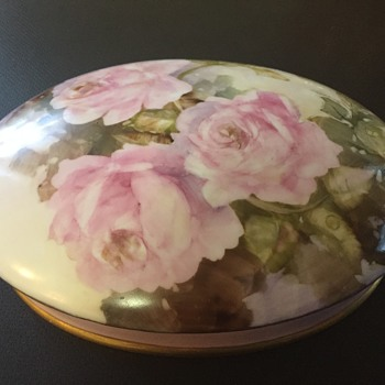 Modern Porcelain Chocolate Box painted in the Antique Style - China and Dinnerware