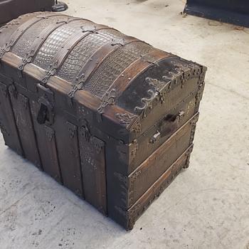 1800's antique alligator skin stamped  tin chest - Furniture