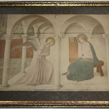 Virgin Mary Old Print Gilt Frame