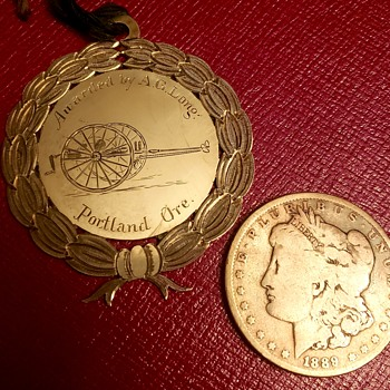 1895 Grants Pass Oregon Fire Department Silver Award/Medal from Fire Hose Cart Race?  - Firefighting