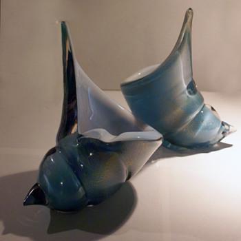 Alfredo Barbini Robins egg blue and aventurine shells - Art Glass