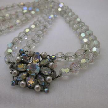 1960's aurora borealis crystal necklace