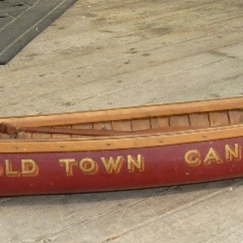 "Hybrid display sample canoe model (aka ""salesman sample"") with elements of both Carleton Canoe and Old Town companies. - Advertising"