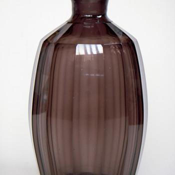 Smoke Grey Glass Bottle~Shaved/Faceted Sides, Handsome - Art Glass