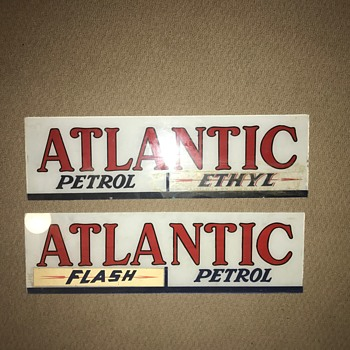 Atlantic Petrol Glass Signs - Petroliana