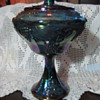 Beautiful Blue HARVEST GRAPE Carnival INDIANA Glass Footed Compote