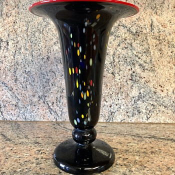 Loetz - black tango with confetti  - Art Glass