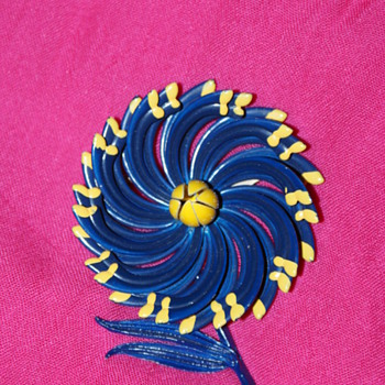 Large Enamel Flower Pin - Costume Jewelry