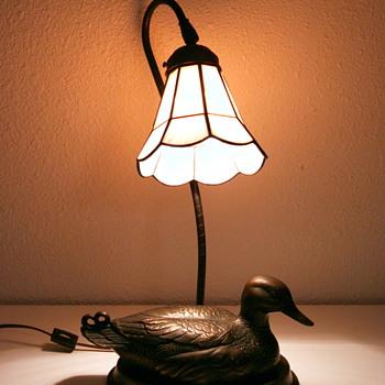 Bronze Mallard Duck Lamp wit Glass Shade - Vintage?