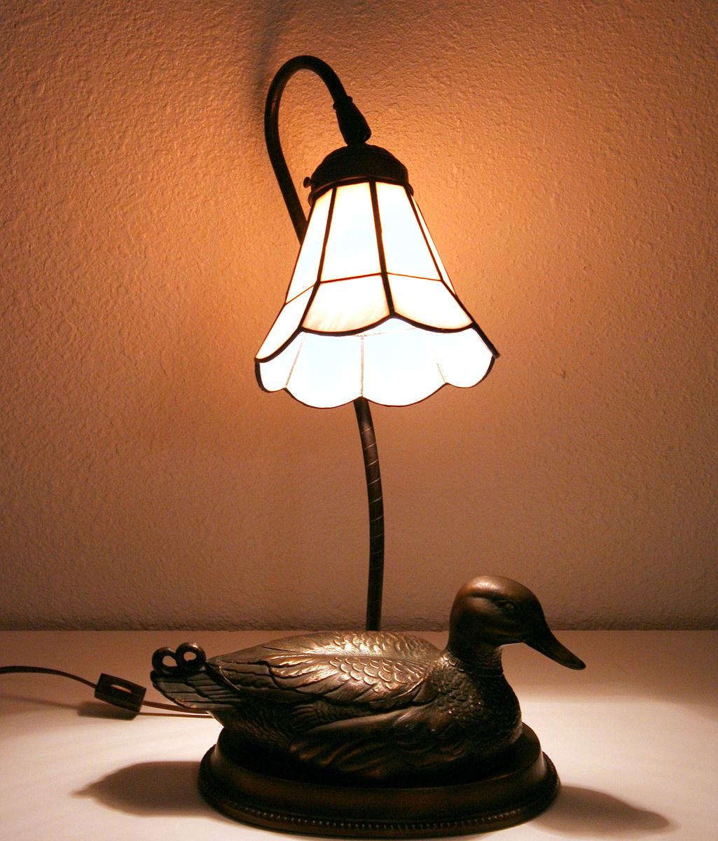 Bronze Mallard Duck Lamp wit Glass Shade - Vintage ...