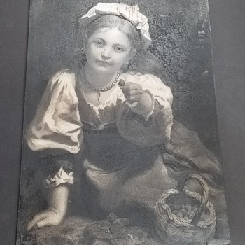 "1875 PIERRE DE CONINCK Engraving ""Strawberry Girl""  - Fine Art"