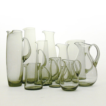 A multitude of gray jugs, Per Lütken (Holmegaard, from 1954 to 1958) - Art Glass