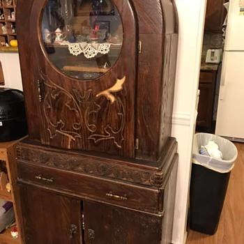 Unusual Hutch w Round Glass Door - Furniture