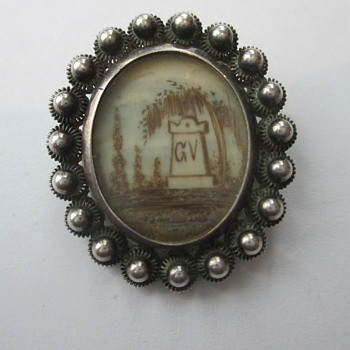 Dutch silver mourning brooch - Fine Jewelry