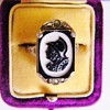 Antique Victorian Carved Silhouette Intaglio Agate Warrior Marcasite Sterling Ring