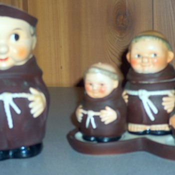 Goebel monk or Friar condiment set and matching jug