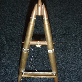 Trench art mini easel/ photograph stand made of bullets - Military and Wartime