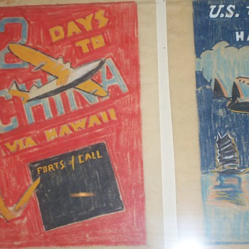 DECO AVIATION ART TISSUE POSTER CHINA CLIPPER AIRPLANE - Posters and Prints