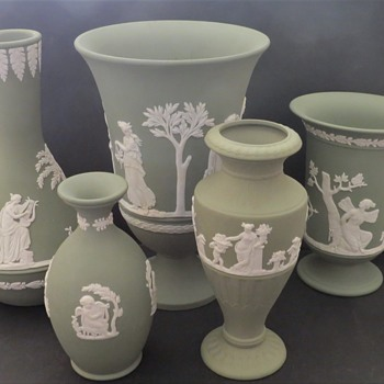 Collection of Green Jasperware Vases - China and Dinnerware