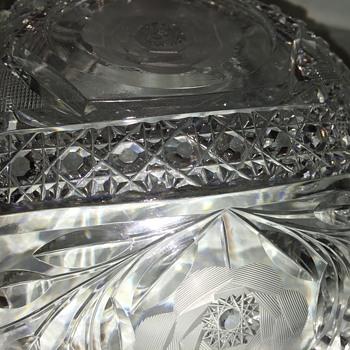 "Rose Pattern Cut Glass Bowl - 9"""