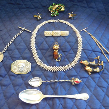 Some More Flea Market Finds For May Jewelry and Spoons - Costume Jewelry