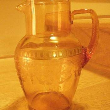 Amber Glass Etched Pitcher - Glassware