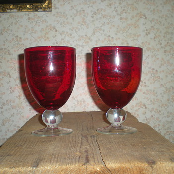 Art Deco pair of red goblets with bubbles! - Art Glass