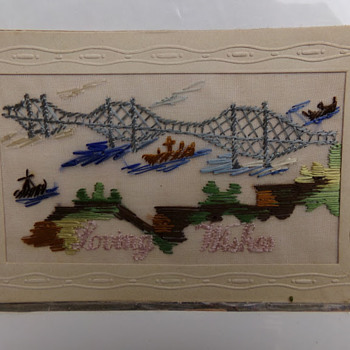 Vintage Embroidered Postcard