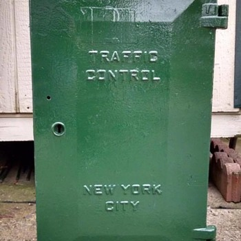 Retired New York City traffic signal controller cabinet produced by Marbelite - Signs