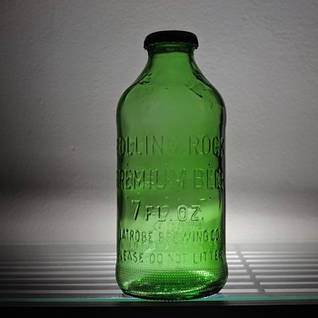 1971 Rolling Rock Beer Bottle Latrobe Brewing Pennsylvania Green Embossed Pony 7 Ounces Anchor Hocking Glass Capped NDNR - Bottles