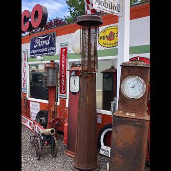 Clockface Gas Pumps - Petroliana