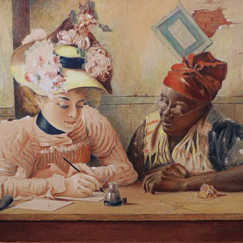 Original Hausding Watercolor~2 Women~Dated '38~on Board~Wonderful